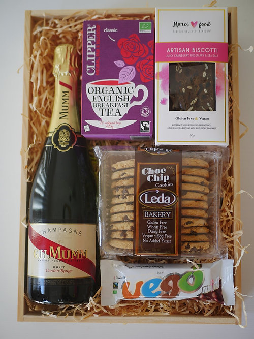 Crateful australia vegan hampers gluten free hampers perth a beautiful gift for any high tea lover some biscotti choccies tea and of course bubbles perfect for a bridal shower engagement new home or new baby negle Gallery