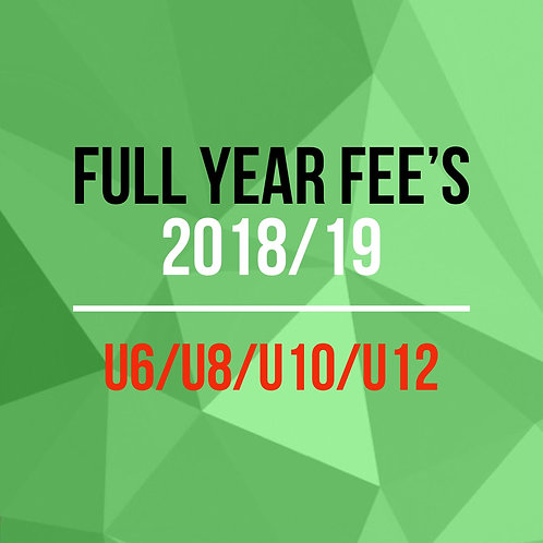 Full year fee's U6/U8/U10/U12/U14