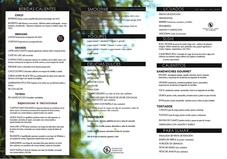 menu cafeteria kaldi carta