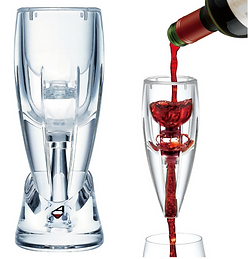 Image demonstrates how air is added to wine, improving its flavor. Product used is the AerVin Deluxe Wine Aerator.