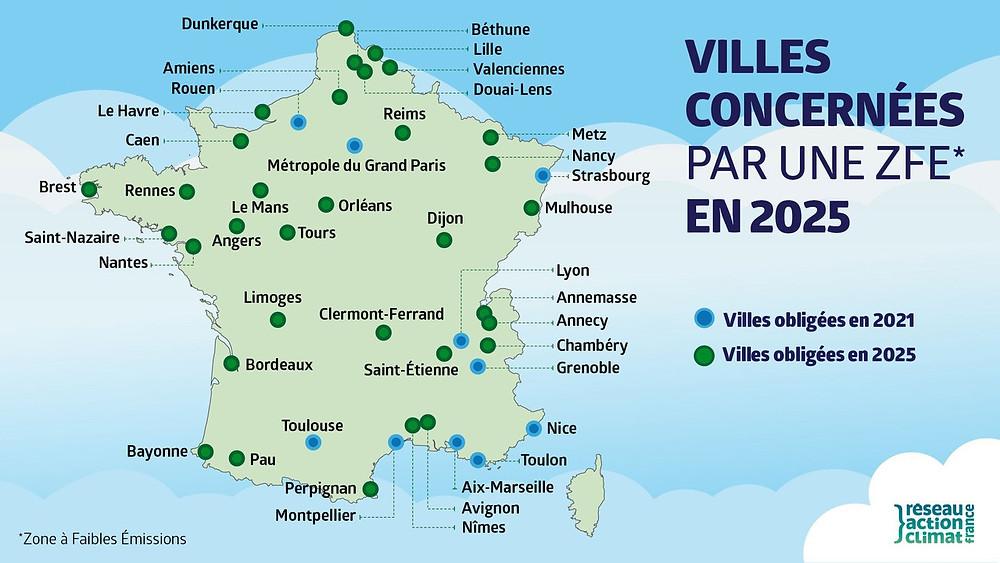 Image Villes concernées par une ZFE en 2025