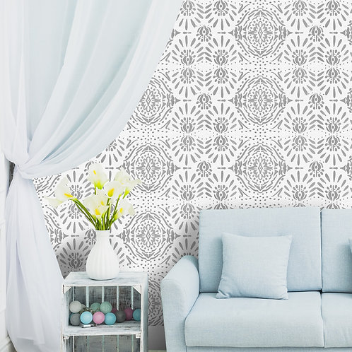 Grey and White Ikat Wallpaper, Ethnic Indian Wall Decor