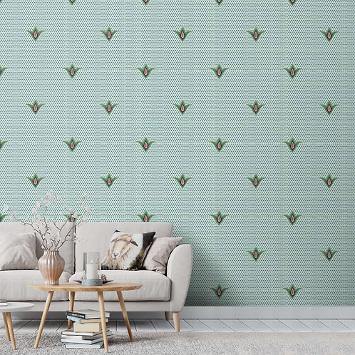 Indian Motif Look Wallpaper for Rooms, Olive Green