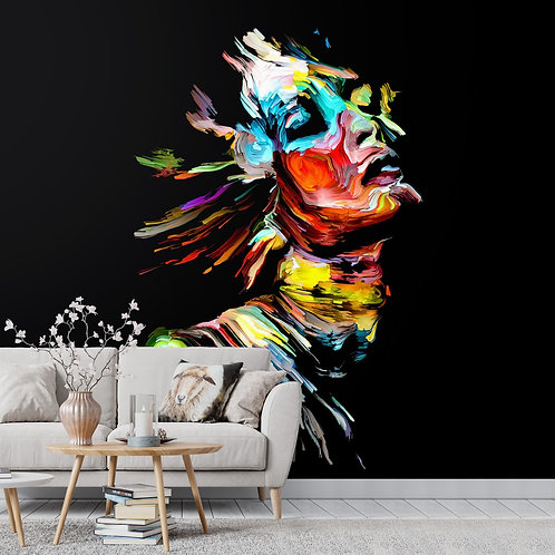 Abstract Painted Look Lady Face Portrait Wallpaper