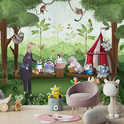 Jungle Class Room with Animals Wallpaper