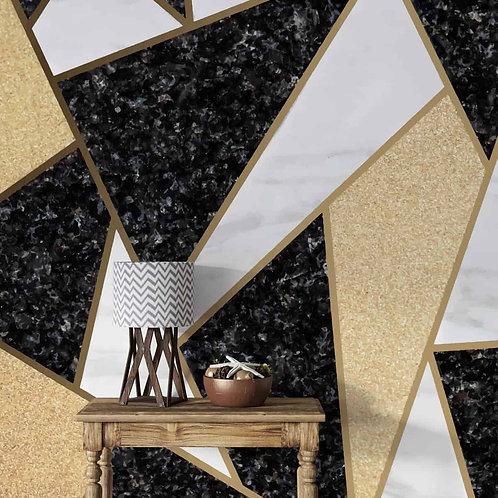 Black and Golden Geometric Wallpaper, Customised