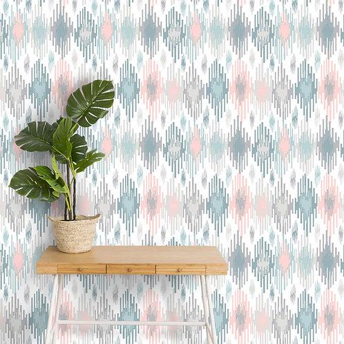High Fashion Ikat Wallpaper, Pastel Shades