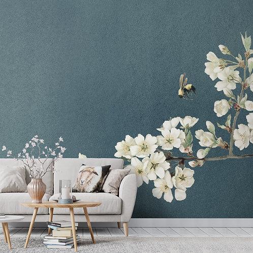 Jasmine Floral Wallpaper, Textured Look Background