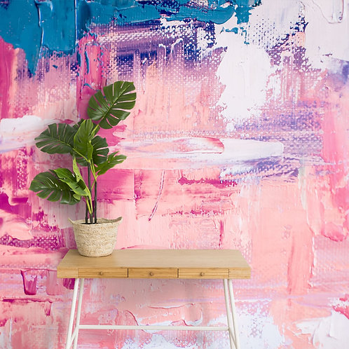 Abstract Color Gradient Wall Art, Pink and Blue