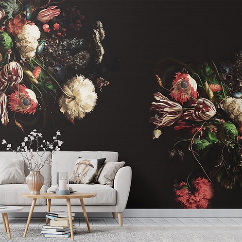 Red and White Flower Wallpaper, Black Background Customised