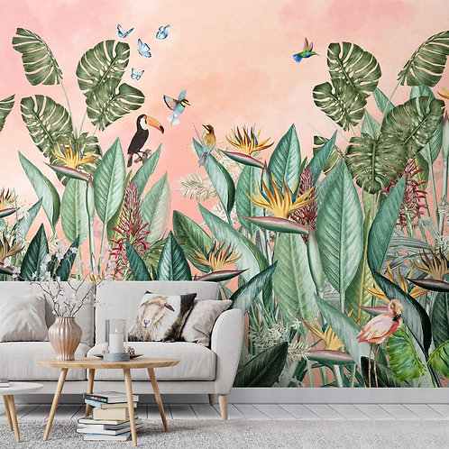 Bird of Paradise Tropical Theme Room Wallpaper