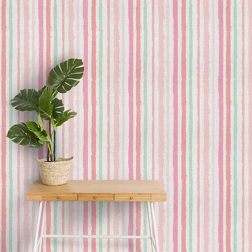 Pastel Irregular Striped Wallpaper, Pink and Green