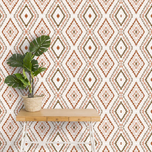 Brown Ikat Wallpaper, Ethnic Indian Prints