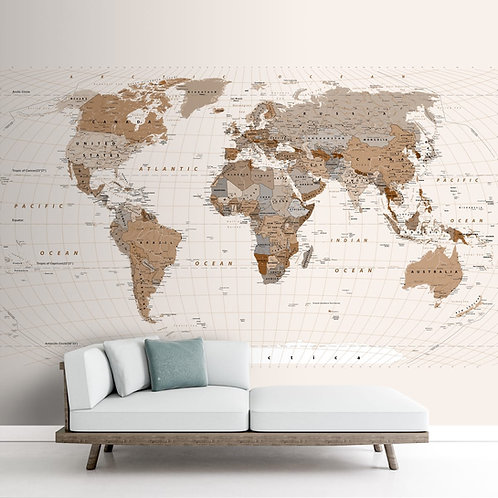 Vintage Style World Map Wallpaper, Brown & Beige, Made to Size