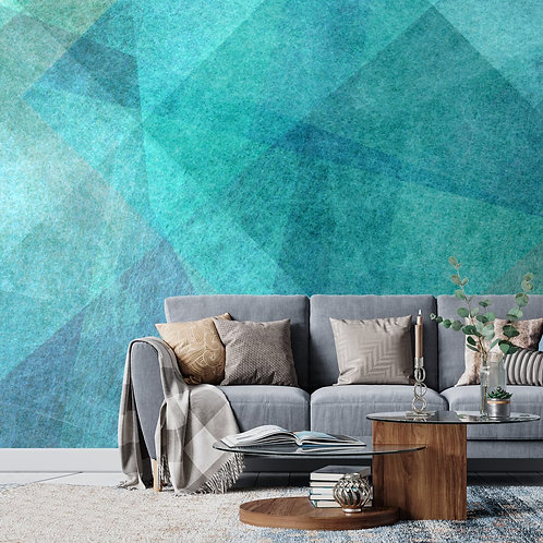 Green and Blue Geometric Shapes, Wallpaper for Walls