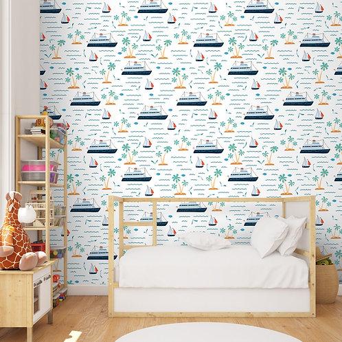 Cruise Boat Nautical Design Kids Wallpaper, Customised