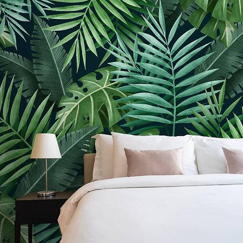 Tropical Wallpaper,  Big Green Leaves, Customised