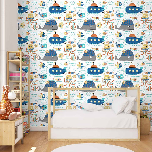 Cute Underwater Theme Wallpaper with Whale and Ships