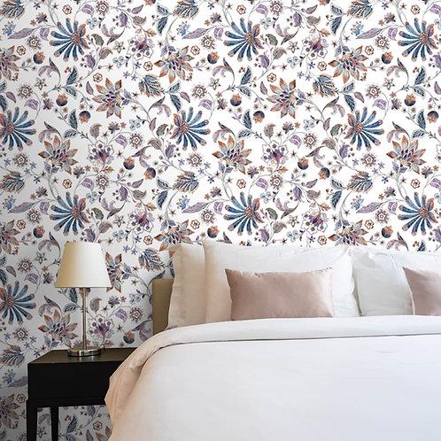 Vibrant Floral Wallpaper, Repeat Patten
