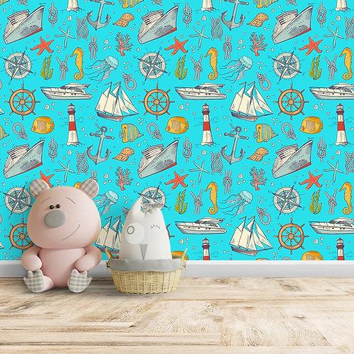 Ship, Handwheel,  starfish, Anchor, fishes, Blue background Wallpaper, Customise