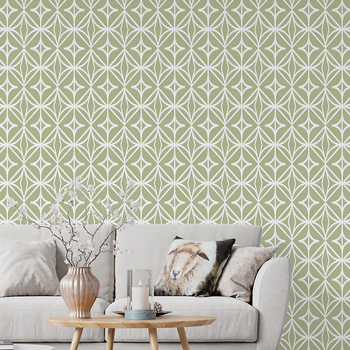 Green Diamond Pattern Wallpaper, Customised