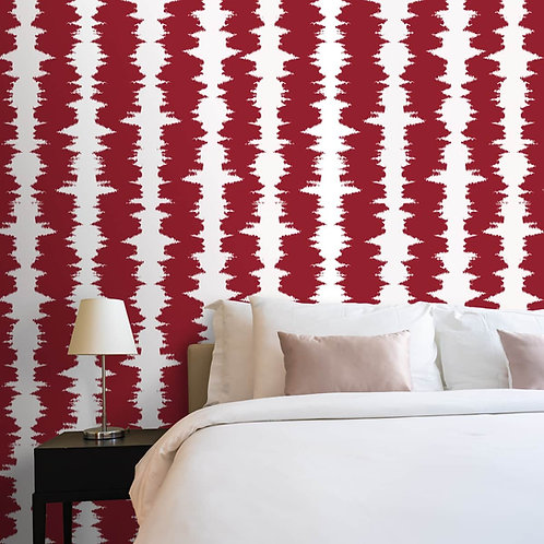Red Color Ikat Pattern Rooms Wallpaper, Customised