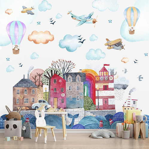 Cute Island Houses with Balloons and Planes, Customised Wallpaper