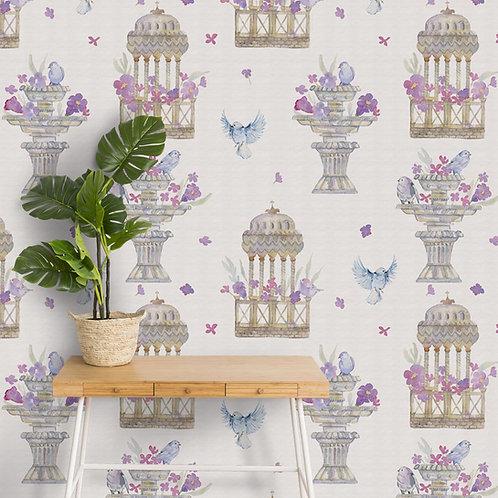 Premium Mughal Pattern Wallpaper, Fountain, Castle, Blue Bird, Customise