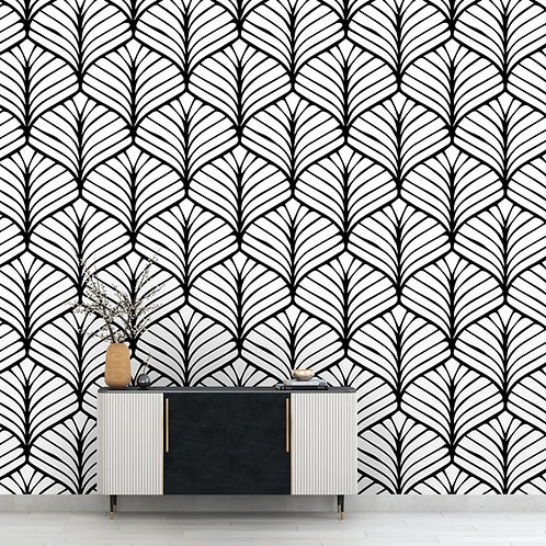 Black and White Japanese Leaves Motif Wallpaper