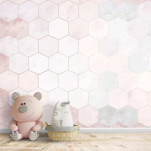 Pink Hexagon Repeat Geometric Pattern Wallpaper, Customised