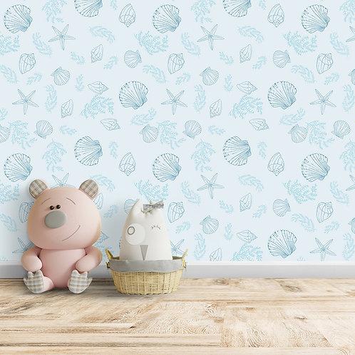 Sea Shell, Star Fish, Light Blue Background Wallpaper, Customise