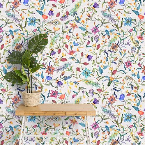 Multicolor Floral Wallpaper, Cute Design for Bedrooms