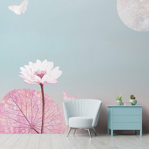 White Lotus And Rose Gold Leaves Wallpaper by LifeN Colors