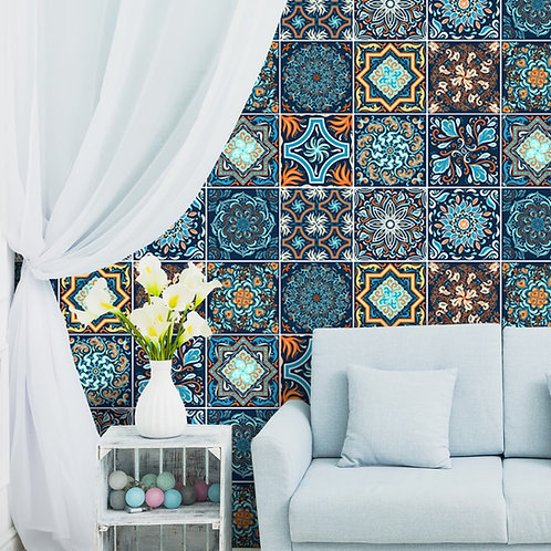 Morroccon Blue Ceramic Tiles Inspired Wall Paper for Rooms