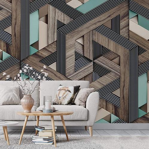 3D Looks Geometric Pattern, Brown & Green, Customised