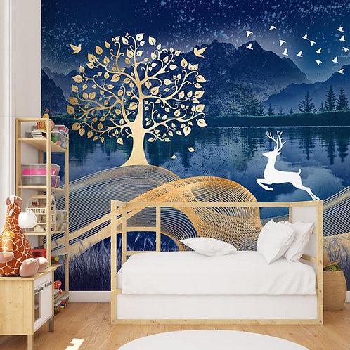 Golden Bodhi Tree Wallpaper with White Deer, Customised