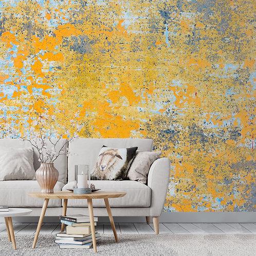 Yellow Abstract Wall Pattern, Distress Look Wallpaper