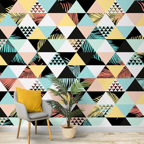 Colourful Triangles in Wallpaper Pattern, Customised