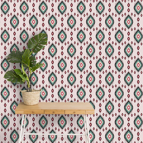 Colorful Indian Ikkat Pattern Wallpaper for Rooms