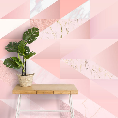Rose Gold Geometric Pattern Wallpaper with 3D look