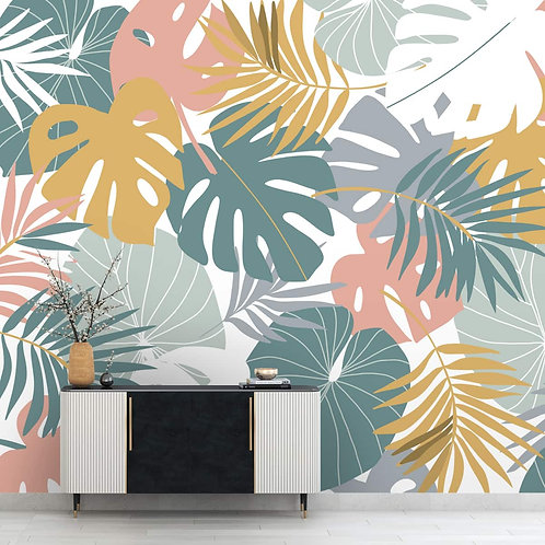 Tropical Colorful Leaves Wallpaper,  Pastel Colors