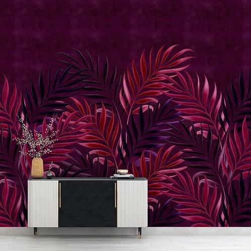 Tropical Wallpaper,  Burgundy Background, Customised