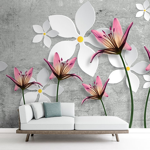 White Flower, Pink Lily Flower Wallpaper, Grey Background, Customised