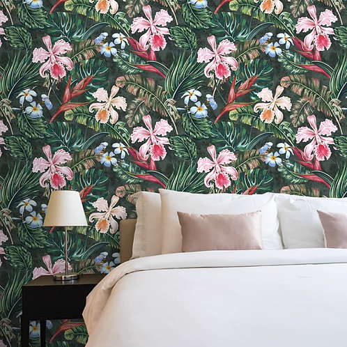 Beautiful Hibiscus Flower With leaves Wallpaper, Customised