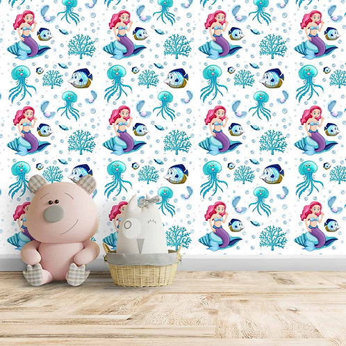 Little Mermaid, Blue Octopus, Fish Wallpaper, Customise