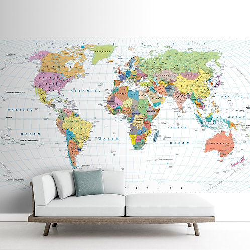 Detailed World Map with Countries & Cities for Wall