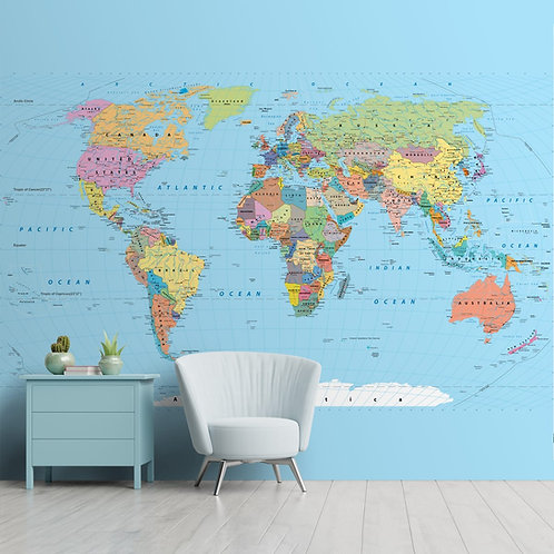 Detailed World Map for Walls, Political Blue Worldmap for Rooms