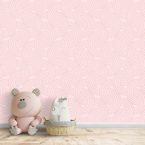 Abstract Circular Patterns For Girls Room Wallpaper, Pink
