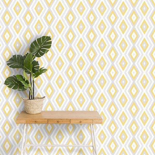 Yellow Geometric Pattern Indian Theme Wallpaper