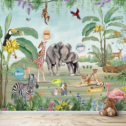 Jungle Theme Wallpaper with Cute Animals and Quotes